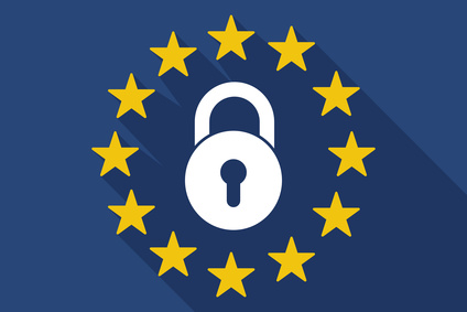 Long shadow EU flag with  a closed lock pad