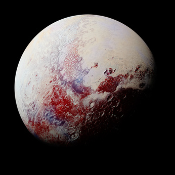 dwarf planet Pluto isolated on black background, part of the solar system